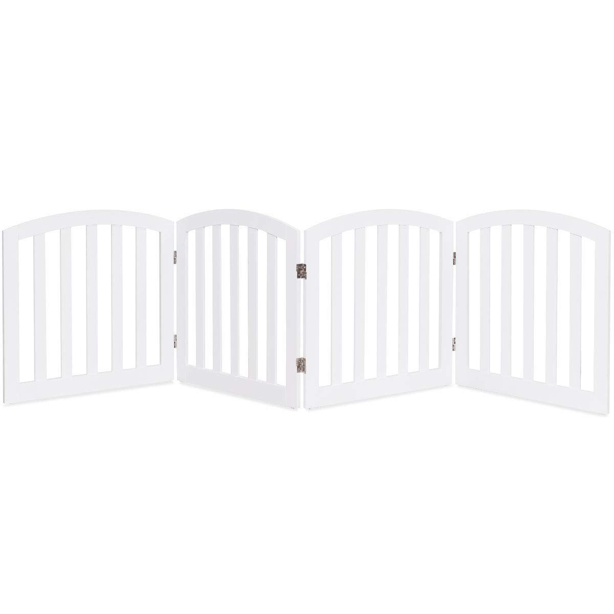 Giantex 24'' Dog Gate with Arched Top for Doorway and Stairs, Configurable Free Standing Wooden Gate with Foldable Panels and Sturdy Metal Hinges, Pet Dog Safety Fence (96'' W, White)