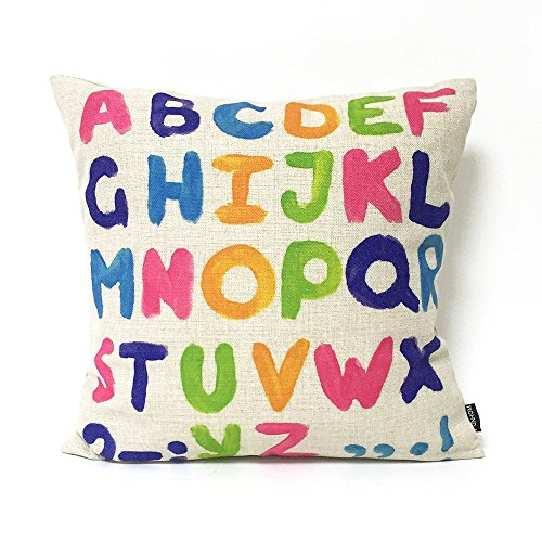 FUNHOM Home Decorative Pillows Colorful English Alphabet Pillow Cover Letter Cushion Cover Throw Linen Pillow Covers 18x18 ()