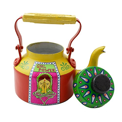 LazyBrats Hand Painted Aluminum Tea Kettle - Colorful, Quirky, Funky N Designer Naari Shakti Tea Pot For Home Decor - Can Be Used As Showpiece, Dinnerware Or Kitchenware