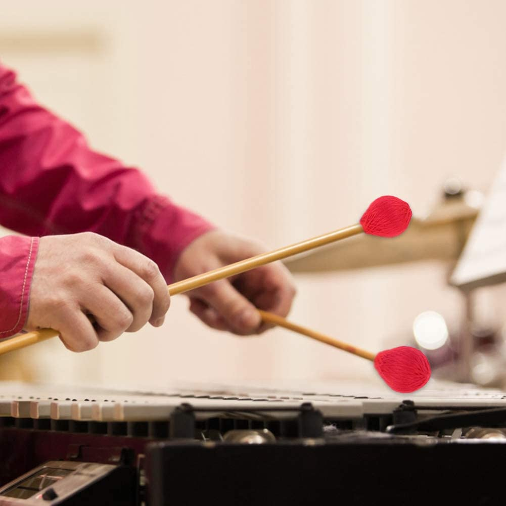Alomejor 1 Paire Baguettes de Maillets Marimba Maillets Marimba /à T/ête de Fil Dur Moyen avec Manche en Bois pour Percussion Bell