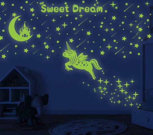 353 PCS Glow in Dark Stars and Moon Castle, Glowing Unicorn for Ceiling and Wall Decals, Kids Bedding Room or Party Birthday Gift (Blow Dryer Wall Decal)