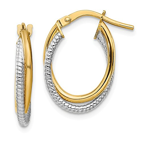 (14k Two Tone Yellow Gold Textured Double Oval Hoops Hoop Fine Jewelry Gifts For Women For Her)