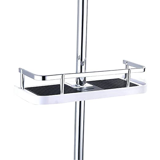 Fontic Abs Plastic Bathroom Shelf Rack Shower Caddy Wall Mount Holder, No Drilling Shower Organiser For Shampoo Soap With 19 25mm Rail And Double Hook (Abs Square Edge) by Fontic
