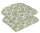 Cheap Bossima Indoor/Outdoor Green/Grey Damask Wicker Seat Cushion, set of 2,Spring/Summer Seasonal Replacement Cushions.