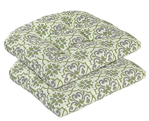 Bossima Indoor/Outdoor Green/Grey Damask Wicker Seat Cushion, set of 2,Spring/Summer Seasonal Replacement Cushions.