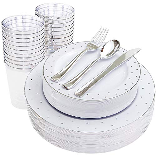IOOOOO 150pcs Silver Plastic plates, Silver Disposable Cups and Silverware, 25 Guest Dot Set: 25 Dinner Plates 10.25