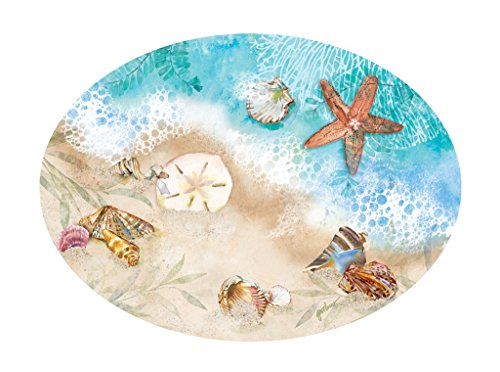 - Melamine Dinnerware Tray Serving Trays Antipasto Platter Fruit Cheese 9 inches x 16 inches Nautical Decor Beach Waters Edge