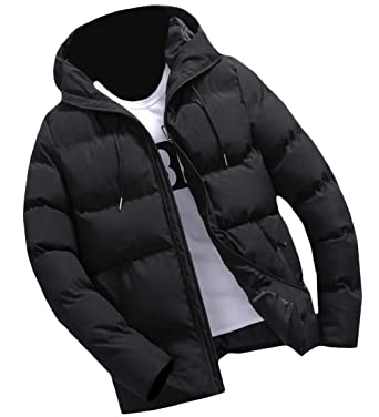 YUNY Men Quilted Zipper Brumal Warm Puffer Hooded Parka Jacket Coat Outwear Blue S