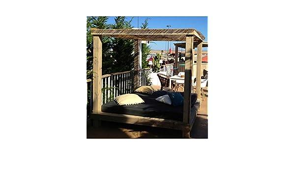 CAMA BALINESA MADERA RECICLADA. Pino reciclado de Holanda, color natural apto para exterior 100%. Ideal para ambientes vintage y eclécticos.: Amazon.es: Jardín