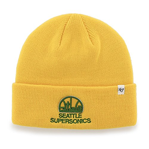 Seattle Supersonics Yellow/Gold Cuff Beanie Hat - NBA Cuffed Winter Knit Toque Cap