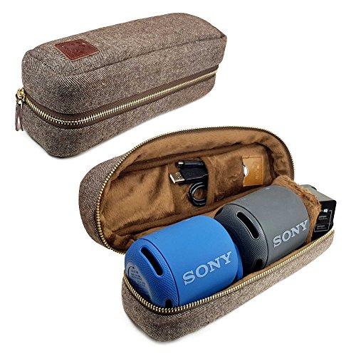 Tuff-Luv Herringbone Tweed NFC Travel Case for XB10 Bluetooth Speakers - Brown