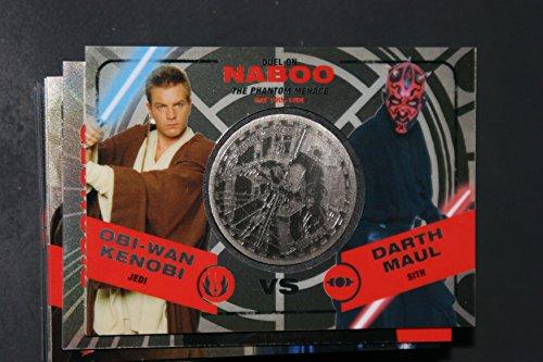 2015 Star Wars Chrome Perspectives Jedi vs. Sith Trading Cards Silver Medallion Obi-Wan Kenobi vs. Darth Maul NABOO Fight Poster Version