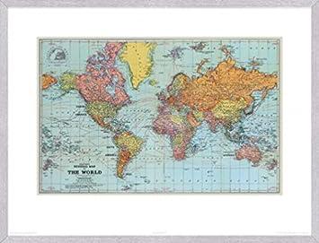 Weltkarten Poster Kunstdruck und MDF-Rahmen Holzoptik ...