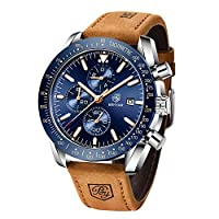 BENYAR – Stylish Wrist Watch for Men, Genuine Leather Strap Watches, Perfect Quartz Movement, Waterproof and Scratch Resistant, Analog Chronograph Business Watches