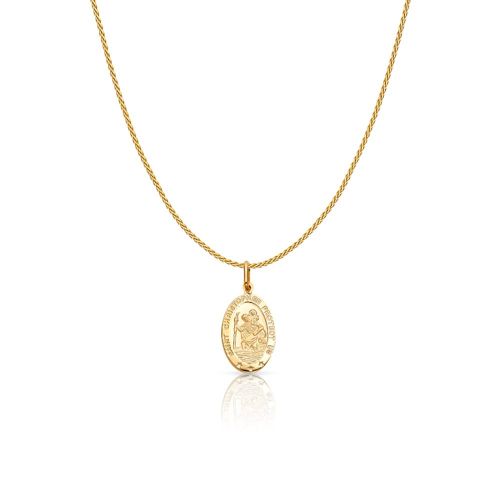 Christopher Protect Us Charm Pendant with 0.9mm Wheat Chain Necklace 14K White Gold St