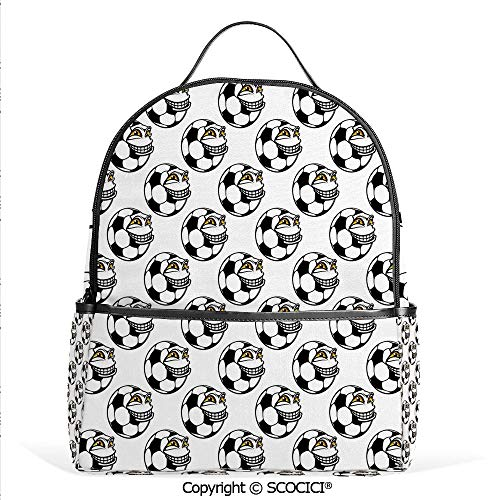 3D Printed Pattern Backpack Cartoon Football Mascot with Happy Funny Face Expression Sports Game Play Decorative,Black White Yellow,Adorable Funny Personalized Graphics ()