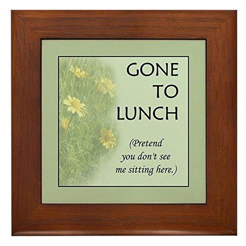 CafePress - Gone To Lunch - Framed Tile, Decorative Tile Wall Hanging ()