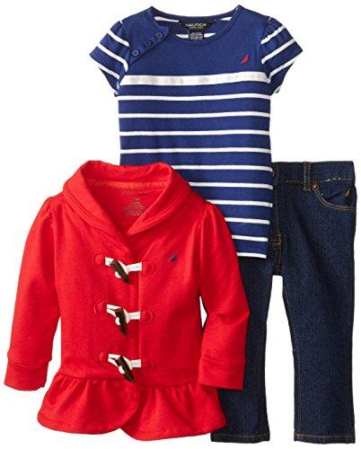 Nautica Baby-Girls Infant 3 Piece Terry Jacket and Denim Set, Dark Red, 12 Months