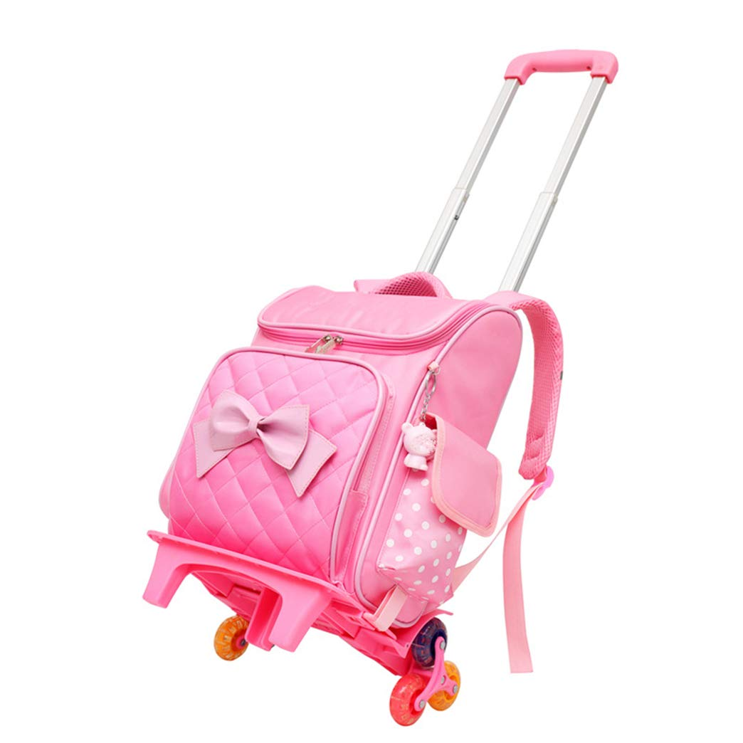 Pink2 6 Wheels Students Wheeled Rolling Trolley Backpack  Girls Cute School Bag Boys Durable Lightweight Travel Daypack (Pink, 6 Wheels)