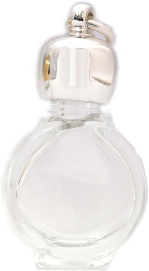ミニ香水瓶 アロマペンダントトップ タイコスキ(透明)1ml・シルバー・穴あきキャップ、パッキン付属