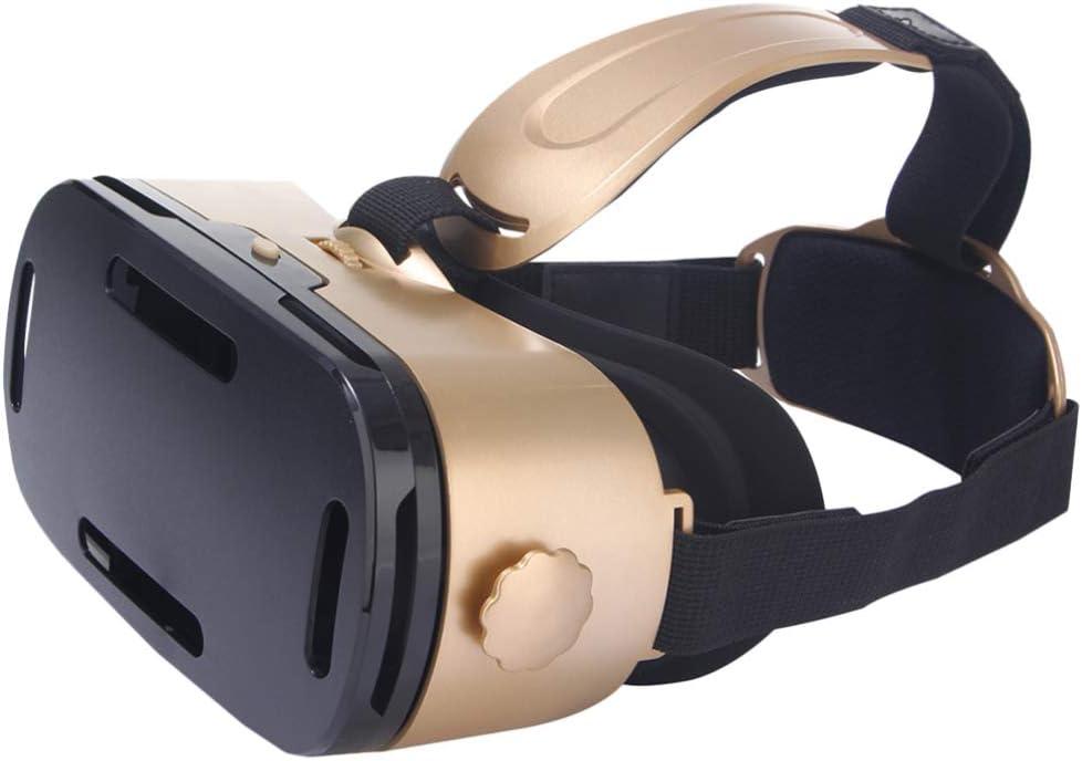 NONE Gafas 3D VR Gafas de Realidad Virtual para Juegos de Películas en 3D Jugar Juegos Educativos Y Ver Videos de 360 ??Grados Lente Anti-Azul (Oro)