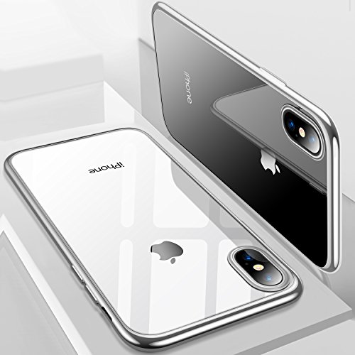 iPhone X Case, TORRAS Ultra Thin Slim Fit Flexible Soft TPU Transparent Crystal Clear Cover Case for Apple iPhone X, Silver (Cover Silver Phone)