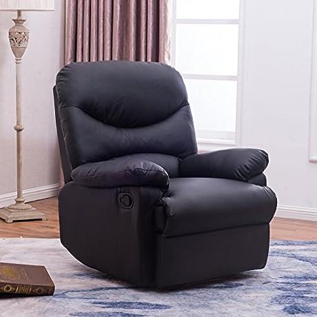 Belleze Black Leather Recliner Chair Padded Seat Armrest W Footrest Black