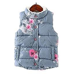 LittleSpring Little Girls\' Vest Flower Buttons Size 5 Grey-blue