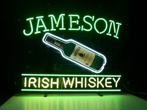 Jameson Irish Whiskey Neon Sign Display Handicrafted Real Glass Tube19x15 The Fastest Free Shipping