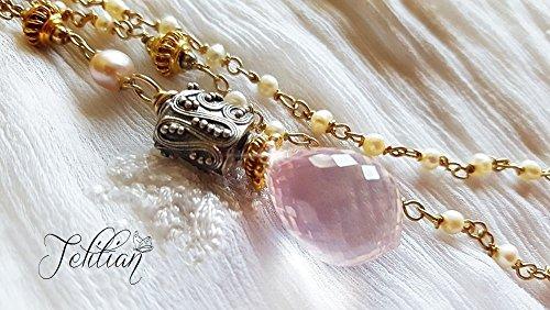 (Rose Quartz Pendant Necklace, Lariat Pendant Necklace, Pink Gemstone Necklace, Ruthenium Plated Sterling Silver Necklace)