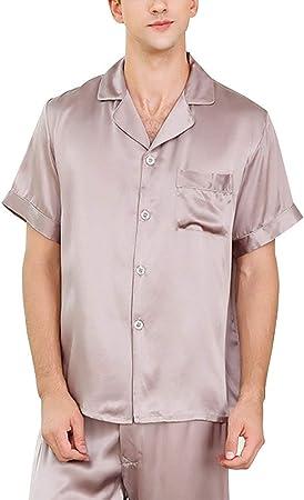 HONGNA Conjunto De Pijama 100% Tela De Seda Camisa De Hombre Pantalones De Manga Corta 2 Juegos De Ropa Informal For El Hogar (Color : Purple Gray, Size : L): Amazon.es: Hogar