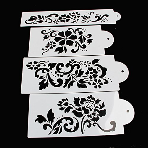 Delight eShop Lace Flower Cake Cookie Fondant Side Baking Wedding Stencil Decorating DIY Tools (#1)