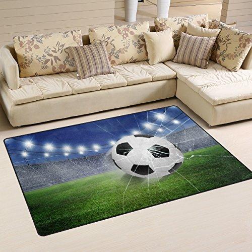 ZOEO Non Slip Area Rugs Green 3D Football Soccer Floor Mat Living Room Bedroom Carpets Doormats Home Decor 2x3