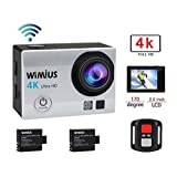 WiMiUS Sports Action Camera 4K WIFI HD 16MP Waterproof Video Camera 170°Wide Angle 2.0''LCD Screen With 2.4G Wrist Remote Control Include 2pcs Batteries With Accessories Kits(Q3 Silver)
