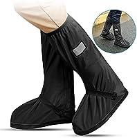 PAWACA impermeable cubiertas de zapatos, 1 par unisex reutilizable antideslizante lluvia nieve Protector de cubrezapatillas impermeable Fundas de botas de cremalleras para tormenta nieve y Moto jardín, Camping (negro, M)