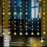 Hao Guang 144 LED Star Curtain Lights with Remote Decorative Window String Light for Indoor Outdoor Christmas Holiday Wedding Party Decoration