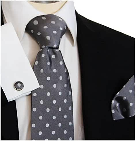 Paul Malone Necktie, Pocket Square and Cufflinks 100% Silk Grey Polka Dots