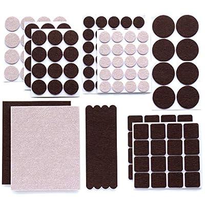 GOSSIP Premium Furniture Felt Pads – 136 Pcs 2 Colors Set Brown & Beige Heavy Duty Floor Protectors for Furniture Legs – Assorted Sizes.