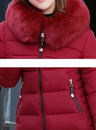 Vino Espesar Collar Outerwear Con Fit Manga Abrigo Chaqueta NiSeng Chaquetas Rojo Slim Capucha Pelaje Mujer Parka Larga 1nxZRZ