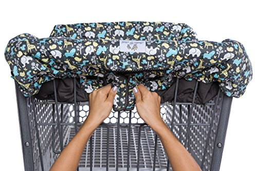 2-in-1 Shopping Cart Cover and High Chair Cover, Universal Fit, Ultra Plush, 100 Percent Cotton Upper, Full Safety Harness, Machine Washable for Baby, Toddler, Boy or Girl (Grey) by Heather and Heath Kids (Image #1)