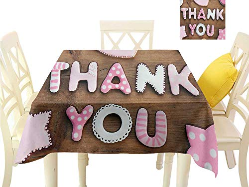 familytaste Easter tablecloths Thank You,Romantic Sweet Cookie Letters Sugar Candy on a Rustic Wood Table Image,Pink White Brown Square Polyester Tablecloth W 54