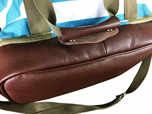 Tasche Extra Large Yoga Mat Bag with Separate Shoe Compartment and Yoga Mat Carrier Striped Yoga Duffle Bag For Women With Brown Genuine Leather Bottom