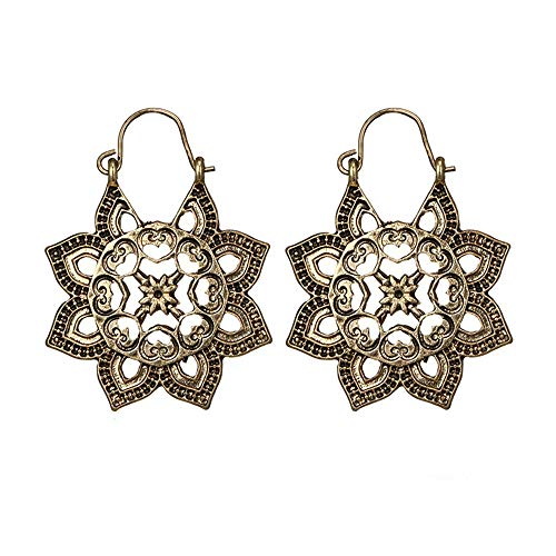 Redvive Top Antique silver Gypsy Indian Tribal Ethnic Hoop Dangle Mandala Earrings - Necklace Silver Tribal Ethnic Old