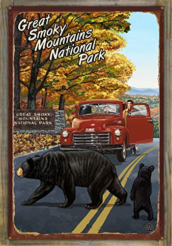 Northwest Art Mall Great Smoky Mountains National Park Truck with Sign Rustic Metal Print on Reclaimed Barn Wood by Paul A. Lanquist (24