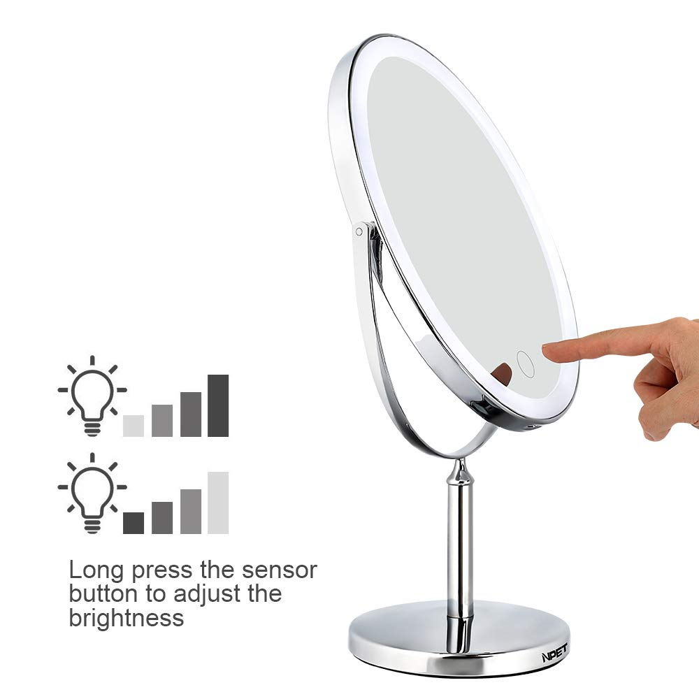 NPET Double-Sided Lighted Makeup Mirror Lighted Vanity Makeup Mirror with LED Lights 1x//5x//10x Magnification Polished Chrome Finish PengXuan E-commerce co LTD MM020