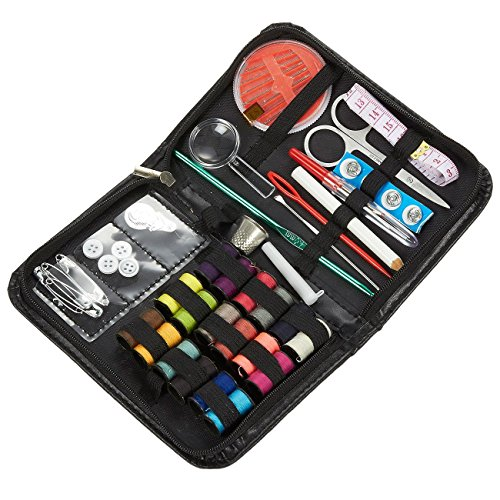 Sewing Kit – 54 Piece Basic Sewing Accessories for Home, Travel & Emergencies, Includes Scissors, Thimble, Thread, Needles, Tape Measure, and More, 6.5 x 4.25 x 1 inches