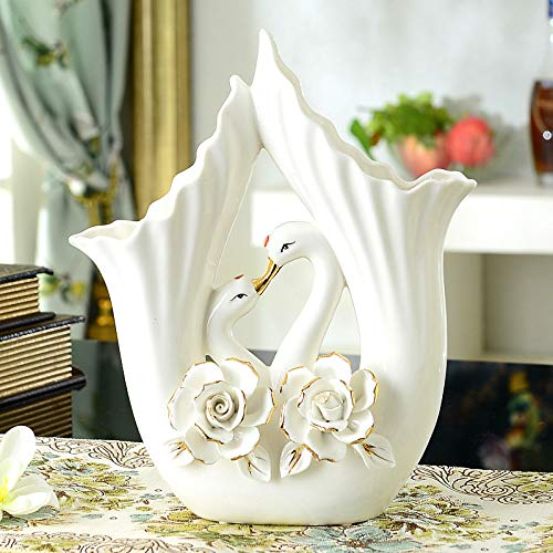 (European Ceramic Couple swan Ornaments New Room Living Room Wine Cabinet Porch TV Cabinet vase Small furnishings Moved to New Home, Baise Flowers)