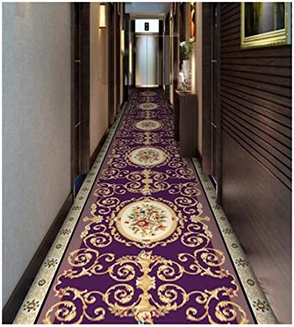 CnCnCn 近代ヨーロッパ回廊カーペットエントランスアイル階段マットノンスリップ (Color : Purple, Size : 80x160cm)