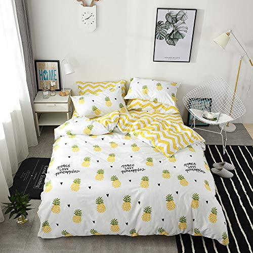 HIGHBUY Pineapple Cotton Duvet Cover Printed Kids Girls Bedd
