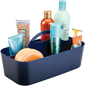 mDesign Plastic Portable Storage Organizer Caddy Tote - Divided Basket Bin with Handle for Bathroom, Dorm Room - Holds Hand Soap, Body Wash, Shampoo, Conditioner, Lotion - Large - Navy Blue